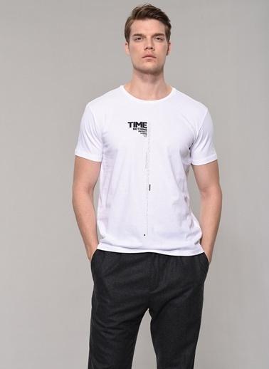 People By Fabrika Baskılı Tişört Beyaz